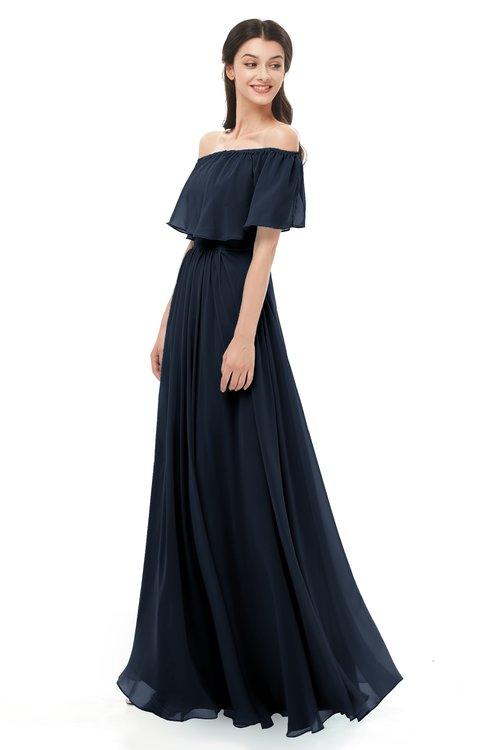 ColsBM Hana Navy Blue Bridesmaid Dresses Romantic Short Sleeve Floor Length Pleated A-line Off The Shoulder