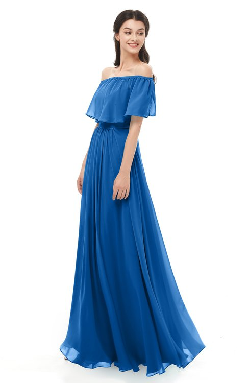 ColsBM Hana Royal Blue Bridesmaid Dresses Romantic Short Sleeve Floor Length Pleated A-line Off The Shoulder