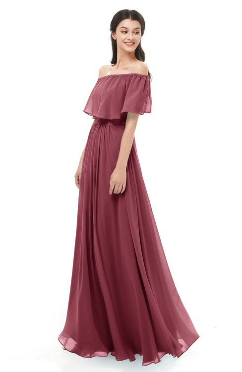 ColsBM Hana Wine Bridesmaid Dresses Romantic Short Sleeve Floor Length Pleated A-line Off The Shoulder