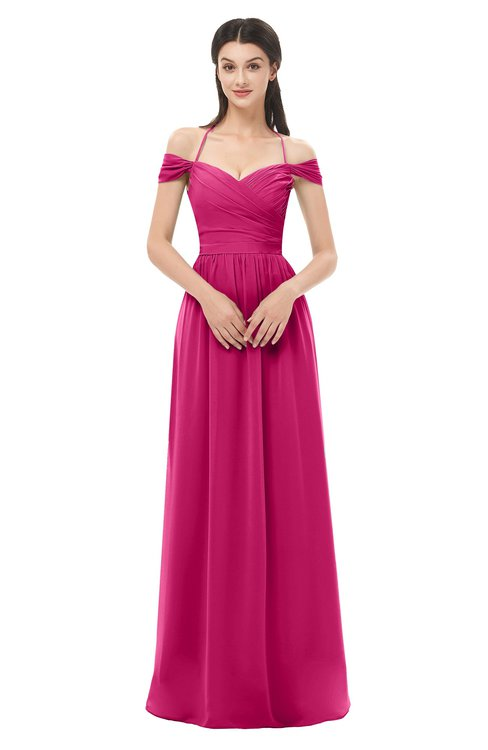 ColsBM Amirah Beetroot Purple Bridesmaid Dresses Halter Zip up Pleated Floor Length Elegant Short Sleeve