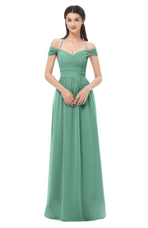 ColsBM Amirah Beryl Green Bridesmaid Dresses Halter Zip up Pleated Floor Length Elegant Short Sleeve