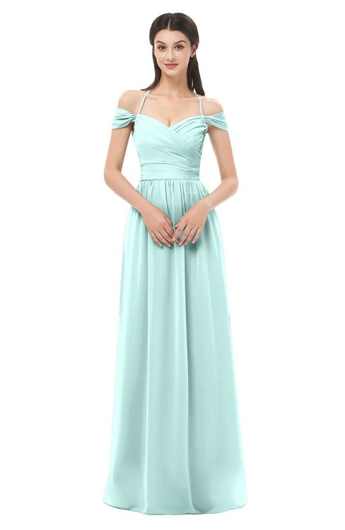 ColsBM Amirah Blue Glass Bridesmaid Dresses Halter Zip up Pleated Floor Length Elegant Short Sleeve