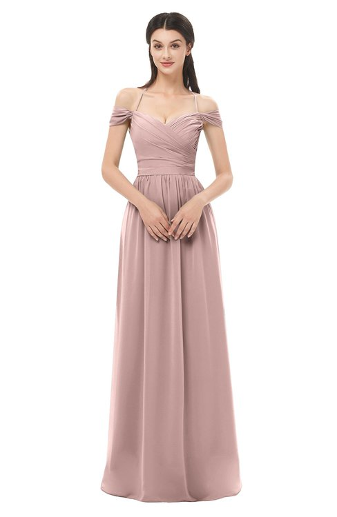 ColsBM Amirah Blush Pink Bridesmaid Dresses Halter Zip up Pleated Floor Length Elegant Short Sleeve