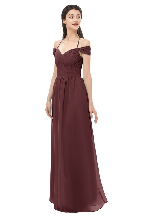 eeb3bcd5 ... ColsBM Amirah Burgundy Bridesmaid Dresses Halter Zip up Pleated Floor  Length Elegant Short Sleeve ...