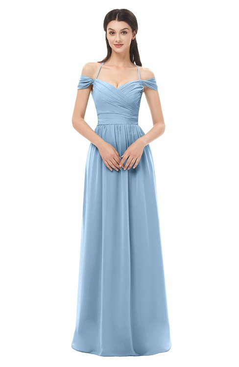 ColsBM Amirah Dusty Blue Bridesmaid Dresses Halter Zip up Pleated Floor Length Elegant Short Sleeve