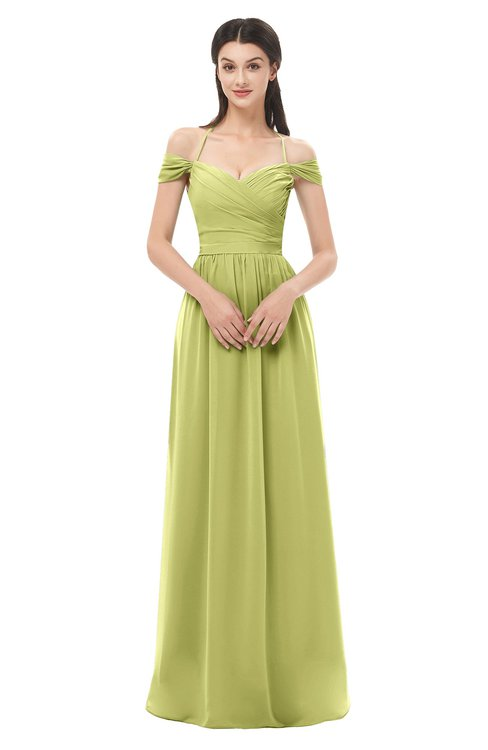 ColsBM Amirah Linden Green Bridesmaid Dresses Halter Zip up Pleated Floor Length Elegant Short Sleeve