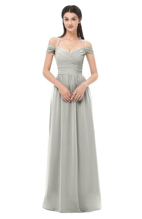 ColsBM Amirah Platinum Bridesmaid Dresses Halter Zip up Pleated Floor Length Elegant Short Sleeve