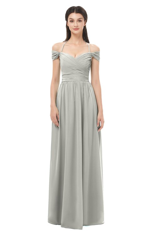 99ce347bfc1 ... ColsBM Amirah Platinum Bridesmaid Dresses Halter Zip up Pleated Floor  Length Elegant Short Sleeve ...