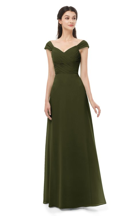 ColsBM Aspen Beech Bridesmaid Dresses Off The Shoulder Elegant Short Sleeve Floor Length A-line Ruching