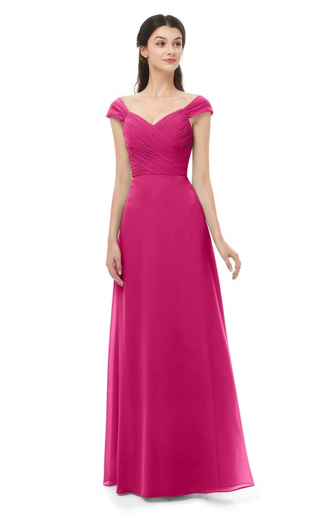 ColsBM Aspen Beetroot Purple Bridesmaid Dresses Off The Shoulder Elegant Short Sleeve Floor Length A-line Ruching
