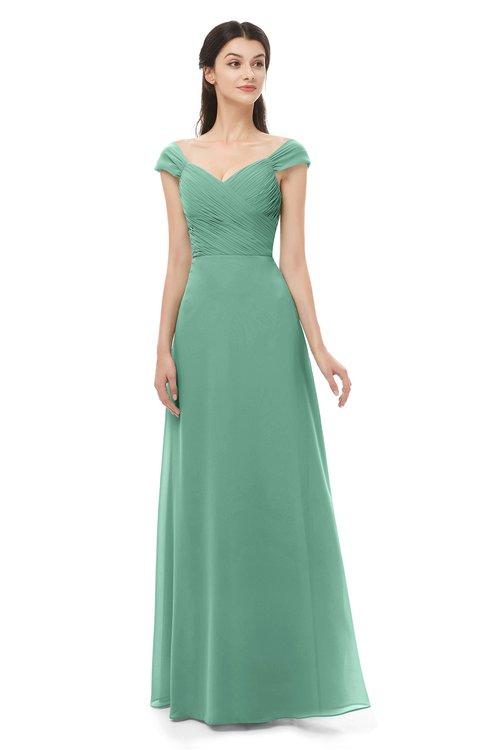 ColsBM Aspen Beryl Green Bridesmaid Dresses Off The Shoulder Elegant Short Sleeve Floor Length A-line Ruching