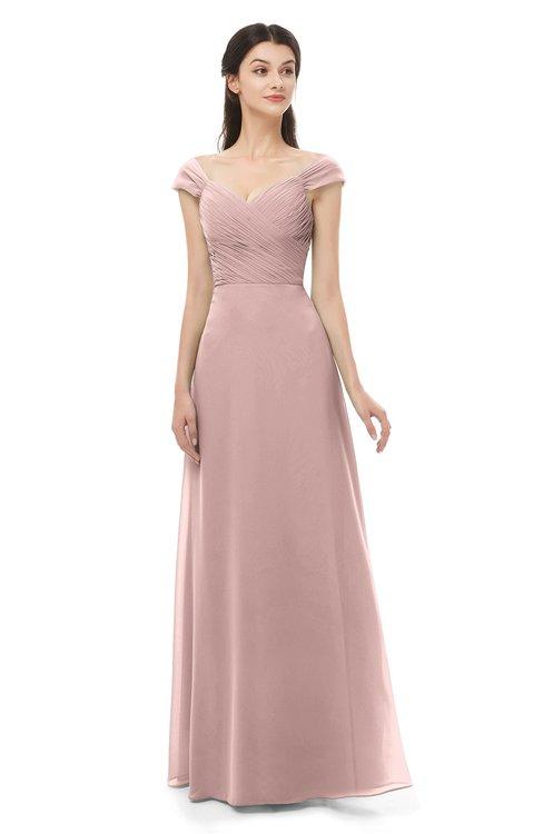 ColsBM Aspen Blush Pink Bridesmaid Dresses Off The Shoulder Elegant Short Sleeve Floor Length A-line Ruching