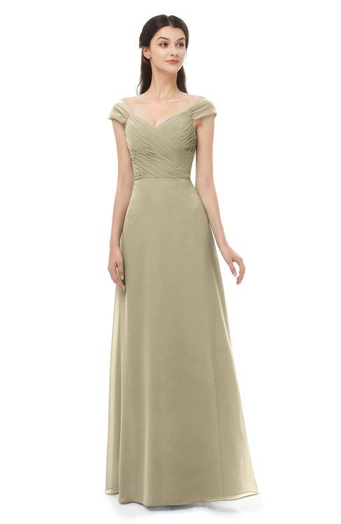 ColsBM Aspen Candied Ginger Bridesmaid Dresses Off The Shoulder Elegant Short Sleeve Floor Length A-line Ruching