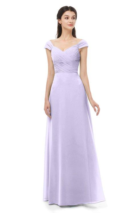 ColsBM Aspen Pastel Lilac Bridesmaid Dresses Off The Shoulder Elegant Short Sleeve Floor Length A-line Ruching