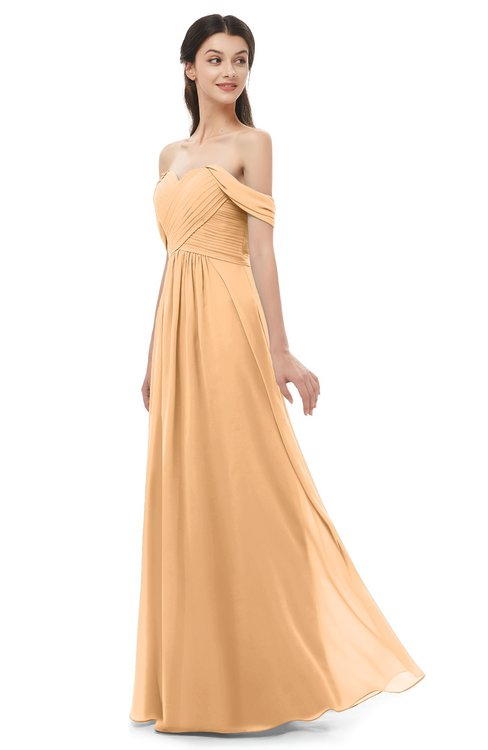 ColsBM Sylvia Apricot Bridesmaid Dresses Mature Floor Length Sweetheart Ruching A-line Zip up