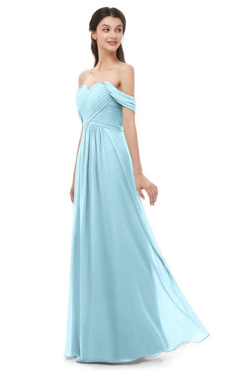 ColsBM Sylvia Aqua Bridesmaid Dresses Mature Floor Length Sweetheart Ruching A-line Zip up