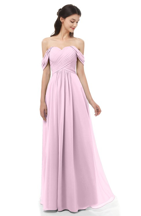 Colsbm Sylvia Baby Pink Bridesmaid Dresses Floor Length Sweetheart Ruching A Line Zip Up