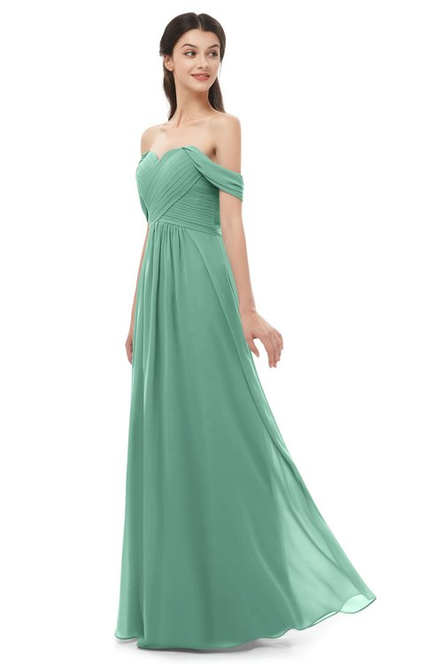 ColsBM Sylvia Beryl Green Bridesmaid Dresses Mature Floor Length Sweetheart Ruching A-line Zip up