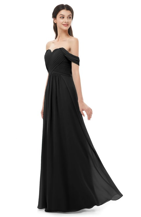 ColsBM Sylvia Black Bridesmaid Dresses Mature Floor Length Sweetheart Ruching A-line Zip up