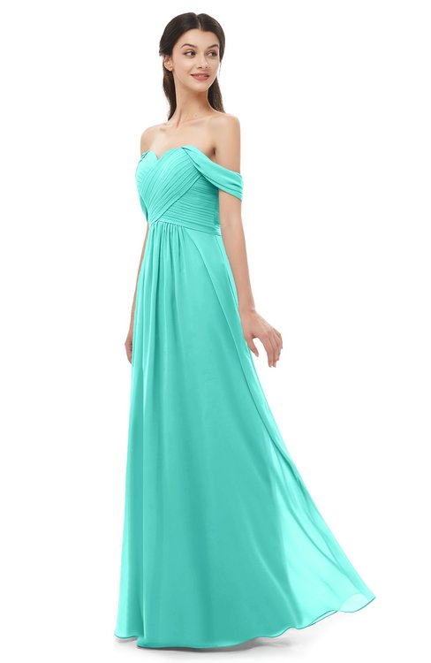 ColsBM Sylvia Blue Turquoise Bridesmaid Dresses Mature Floor Length Sweetheart Ruching A-line Zip up