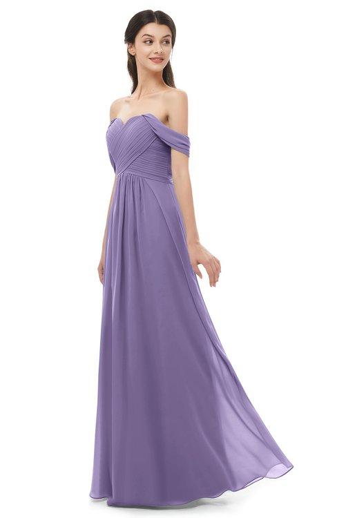 ColsBM Sylvia Chalk Violet Bridesmaid Dresses Mature Floor Length Sweetheart Ruching A-line Zip up
