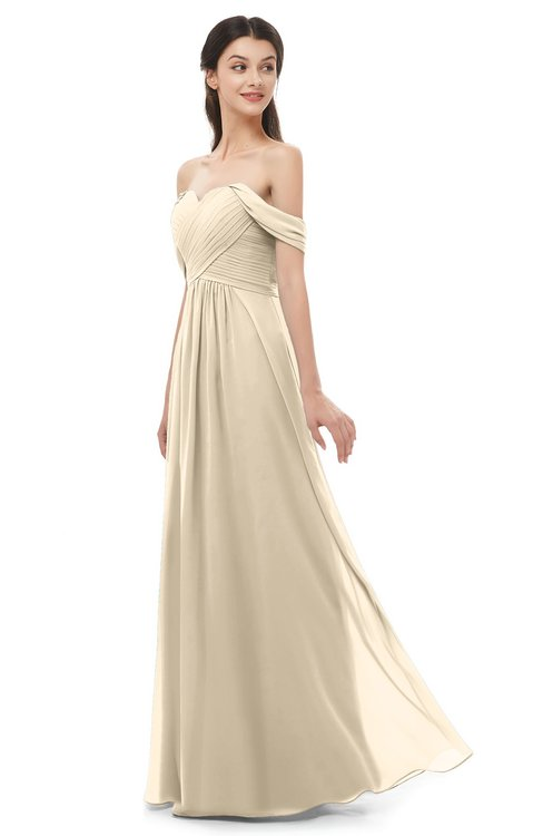 ColsBM Sylvia Champagne Bridesmaid Dresses Mature Floor Length Sweetheart Ruching A-line Zip up