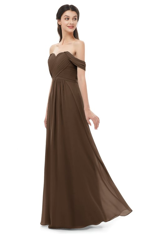 ColsBM Sylvia Chocolate Brown Bridesmaid Dresses Mature Floor Length Sweetheart Ruching A-line Zip up
