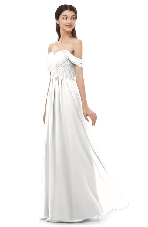 ColsBM Sylvia Cloud White Bridesmaid Dresses Mature Floor Length Sweetheart Ruching A-line Zip up