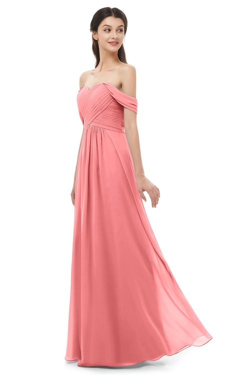 ColsBM Sylvia Coral Bridesmaid Dresses Mature Floor Length Sweetheart Ruching A-line Zip up