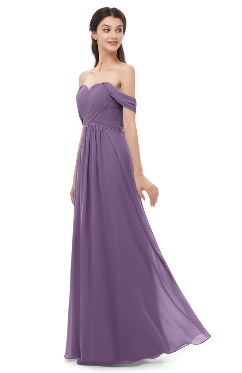 ColsBM Sylvia Eggplant Bridesmaid Dresses Mature Floor Length Sweetheart Ruching A-line Zip up