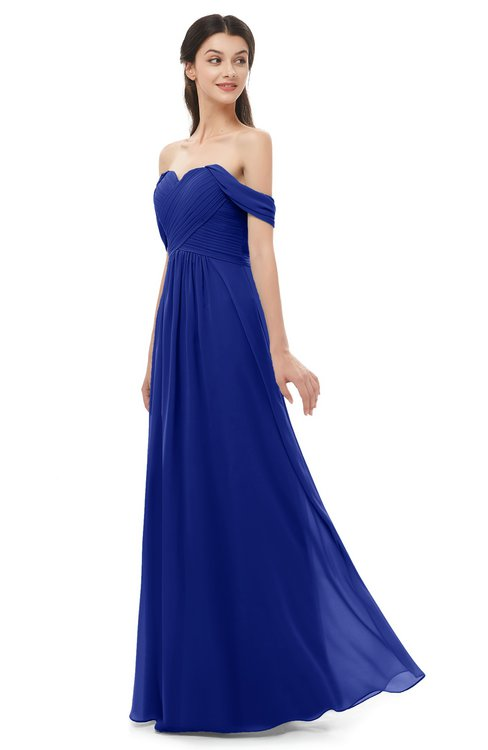 ColsBM Sylvia Electric Blue Bridesmaid Dresses Mature Floor Length Sweetheart Ruching A-line Zip up