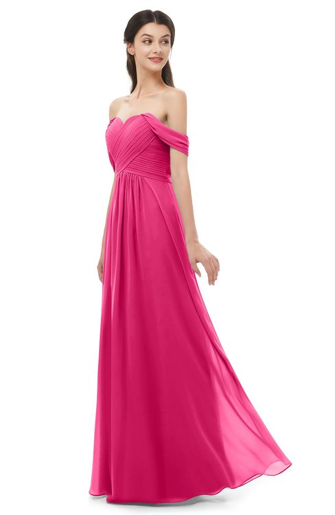 ColsBM Sylvia Fuschia Bridesmaid Dresses Mature Floor Length Sweetheart Ruching A-line Zip up