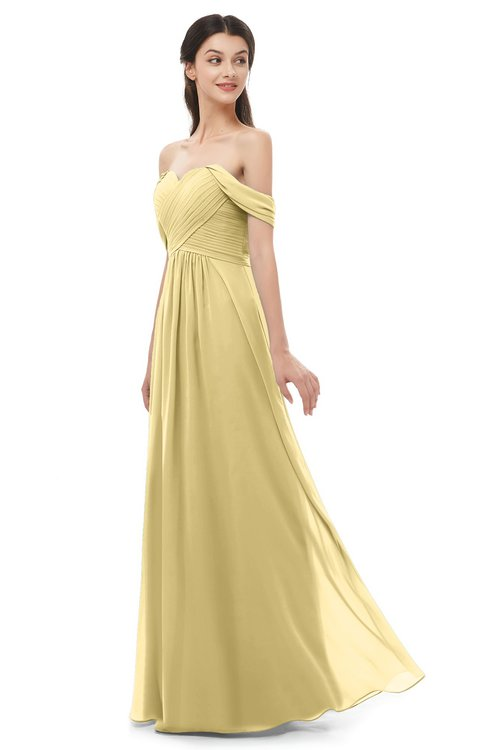 ColsBM Sylvia Gold Bridesmaid Dresses Mature Floor Length Sweetheart Ruching A-line Zip up