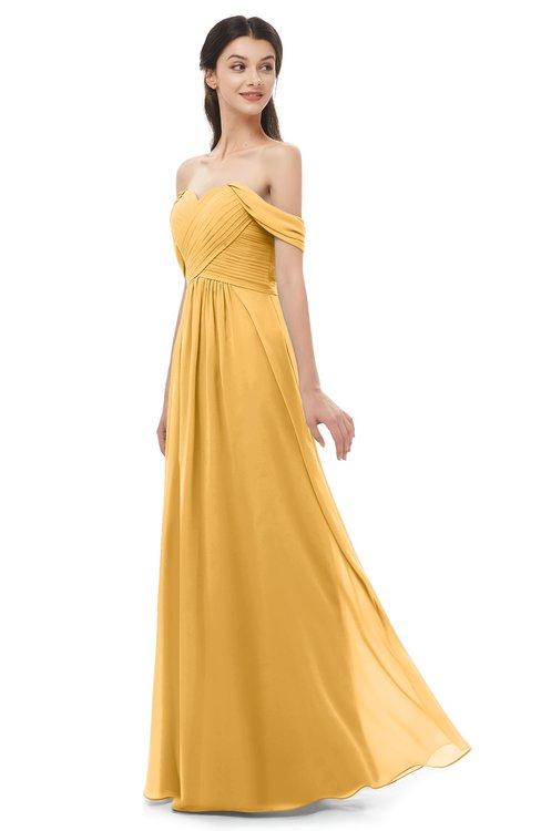 ColsBM Sylvia Golden Cream Bridesmaid Dresses Mature Floor Length Sweetheart Ruching A-line Zip up