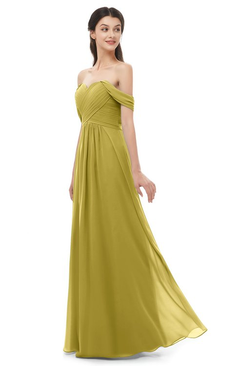 ColsBM Sylvia Golden Olive Bridesmaid Dresses Mature Floor Length Sweetheart Ruching A-line Zip up