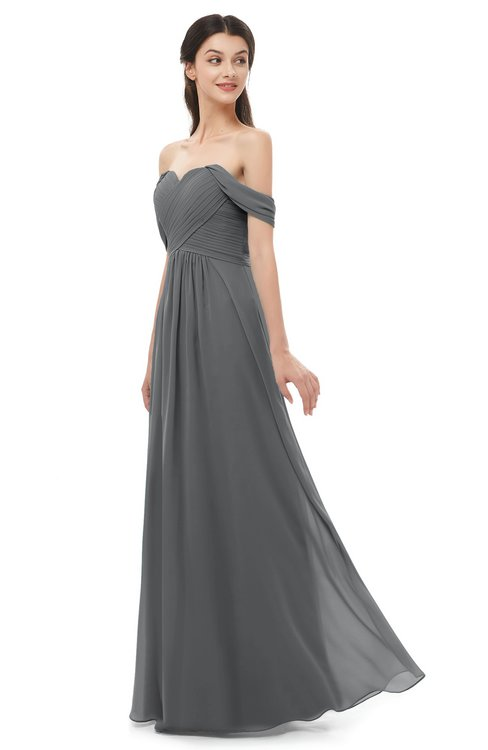 ColsBM Sylvia Grey Bridesmaid Dresses Mature Floor Length Sweetheart Ruching A-line Zip up