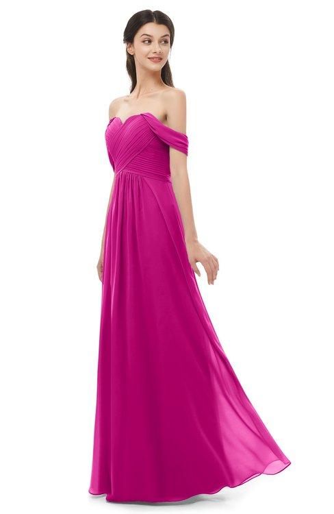 ColsBM Sylvia Hot Pink Bridesmaid Dresses Mature Floor Length Sweetheart Ruching A-line Zip up