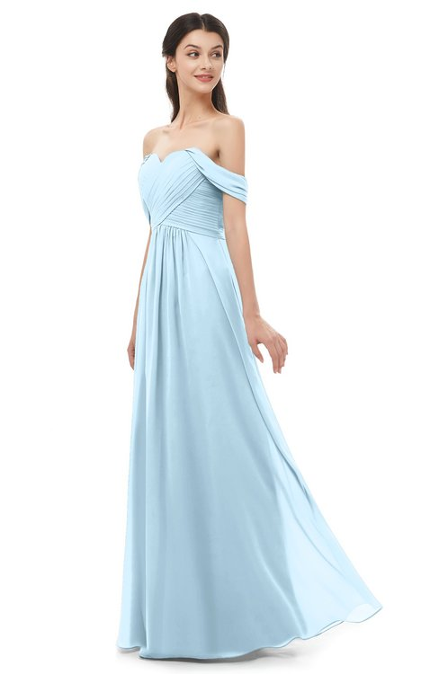 ColsBM Sylvia Ice Blue Bridesmaid Dresses Mature Floor Length Sweetheart Ruching A-line Zip up