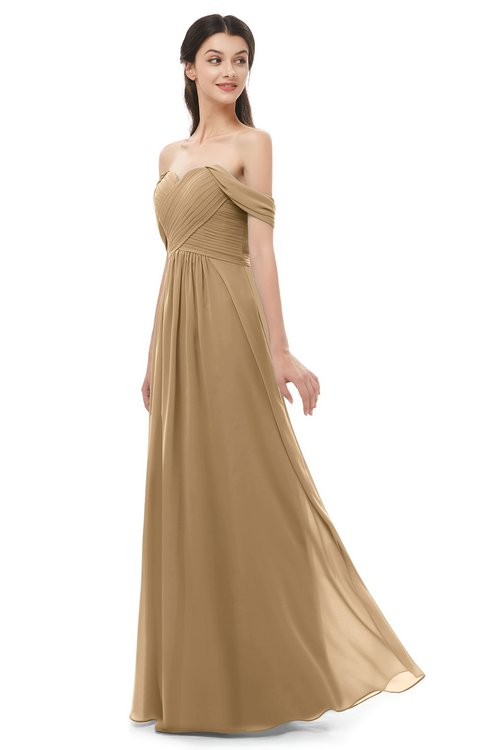ColsBM Sylvia Indian Tan Bridesmaid Dresses Mature Floor Length Sweetheart Ruching A-line Zip up