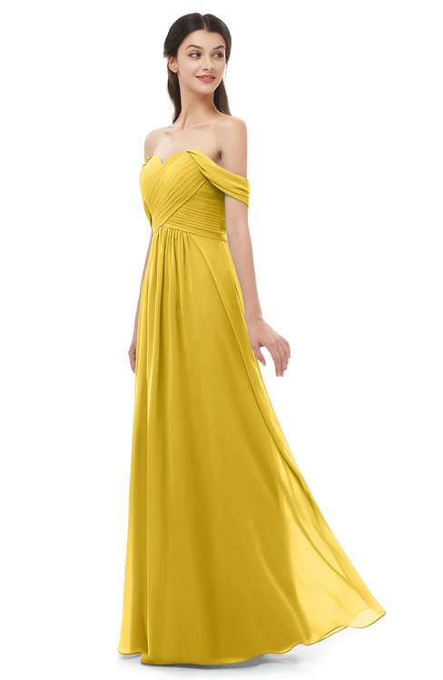 ColsBM Sylvia Lemon Curry Bridesmaid Dresses Mature Floor Length Sweetheart Ruching A-line Zip up