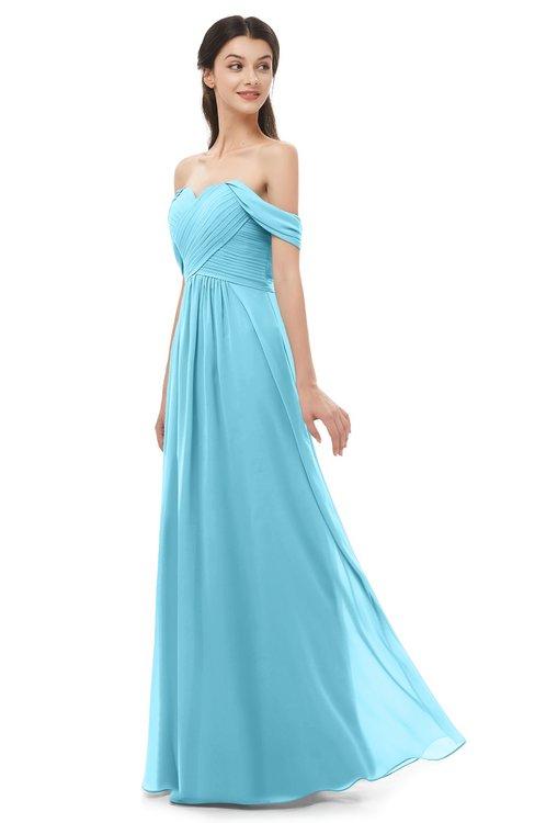 ColsBM Sylvia Light Blue Bridesmaid Dresses Mature Floor Length Sweetheart Ruching A-line Zip up