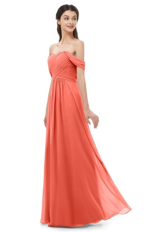 ColsBM Sylvia Living Coral Bridesmaid Dresses Mature Floor Length Sweetheart Ruching A-line Zip up