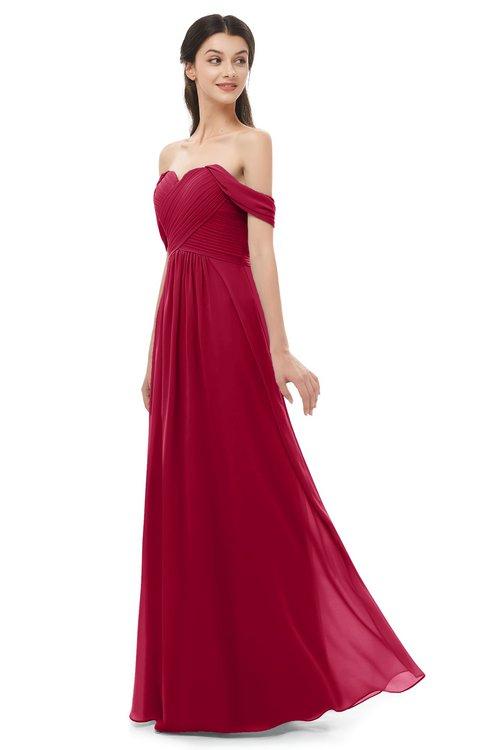 ColsBM Sylvia Maroon Bridesmaid Dresses Mature Floor Length Sweetheart Ruching A-line Zip up