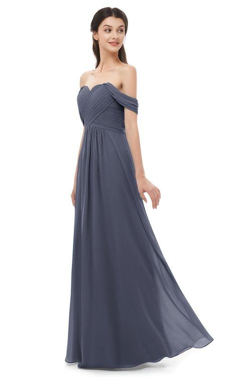 ColsBM Sylvia Nightshadow Blue Bridesmaid Dresses Mature Floor Length Sweetheart Ruching A-line Zip up