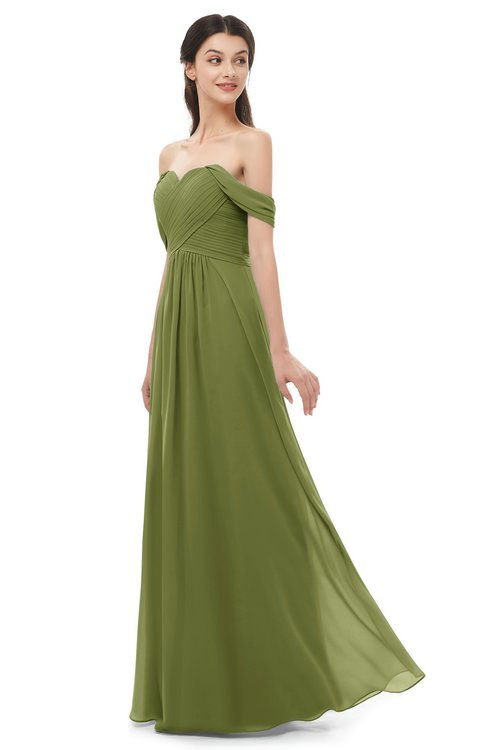 ColsBM Sylvia Olive Green Bridesmaid Dresses Mature Floor Length Sweetheart Ruching A-line Zip up