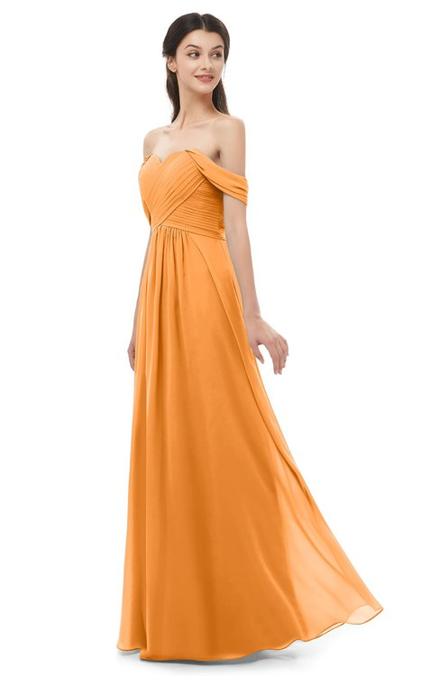 ColsBM Sylvia Orange Bridesmaid Dresses Mature Floor Length Sweetheart Ruching A-line Zip up