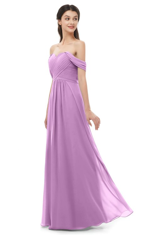 ColsBM Sylvia Orchid Bridesmaid Dresses Mature Floor Length Sweetheart Ruching A-line Zip up