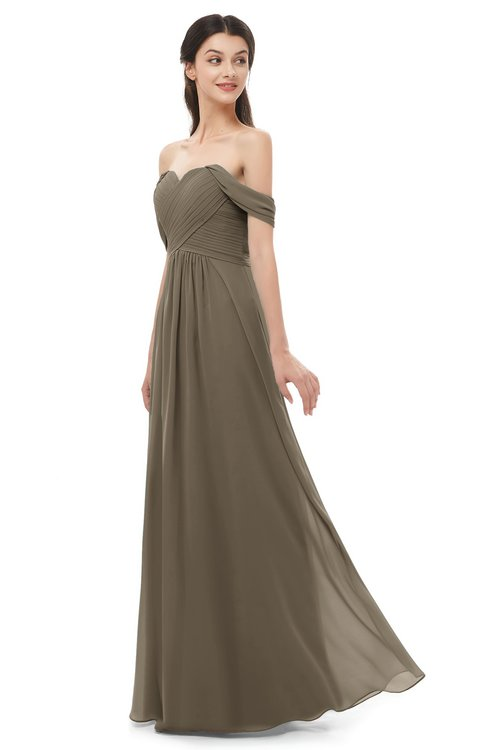 ColsBM Sylvia Otter Bridesmaid Dresses Mature Floor Length Sweetheart Ruching A-line Zip up