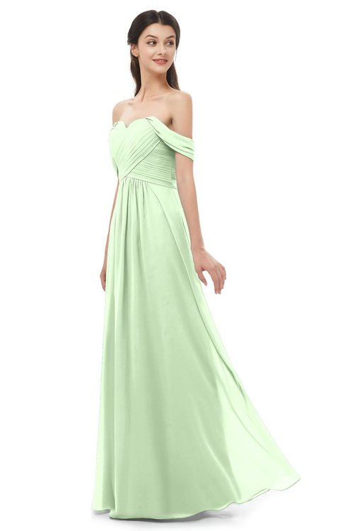 ColsBM Sylvia Pale Green Bridesmaid Dresses Mature Floor Length Sweetheart Ruching A-line Zip up