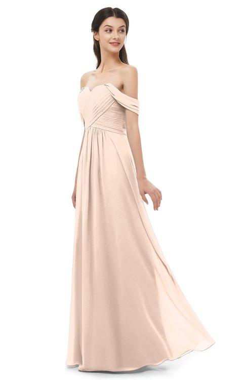 ColsBM Sylvia Peach Puree Bridesmaid Dresses Mature Floor Length Sweetheart Ruching A-line Zip up